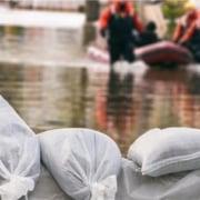 Flood bags barricading waters