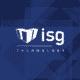 ISG technology logo on blue triangle background