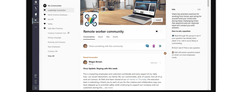 laptop showing view of Microsoft Teams communities