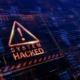 System Hacked notice with caution triangle in red